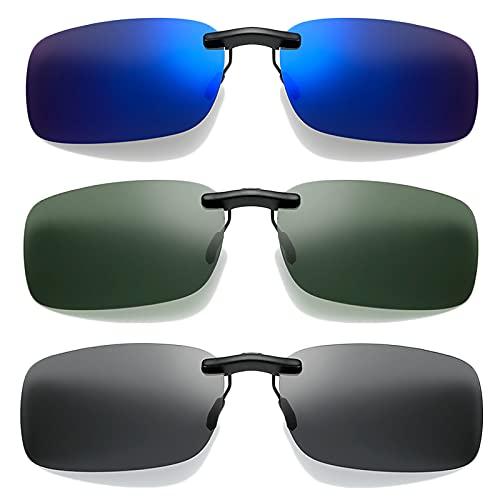 WiDream 3 pcs Clip para Gafas de Sol, Clip Polarizado Unisex en Gafas de Sol, Clip de Gafas Polarizadoras, para Actividades al Aire Libre, Conducción, Pesca, Ciclismo
