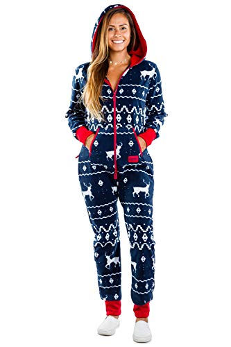 Men's & Women's Cozy Christmas Sweater Party - Fair Isle Blue Adult Cozy Jumpsuit M