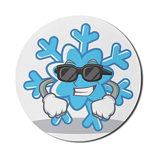 Winter Mauspad für Computer, coole Schneeflocke mit Sonnenbrille und Handschuhen Lustige saisonale Zeichentrickfigur, rundes rutschfestes dickes Gummi Modern Gaming Mousepad, 8 'rund, blau schwarz bla