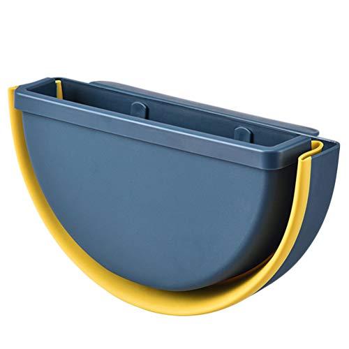 DOITOOL Práctico organizador de basura montado en gabinete sin perforación, plegable para colgar en la caja de almacenamiento sin cubierta para la oficina en el hogar (azul)