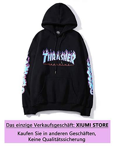 AXYQ Mode Flame Lässig Hoodie Pullover Hip Hop Street Wind Sweatshirts Unisex Langarm Kapuzenpullover,Black-M