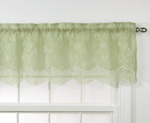 Stylemaster Renaissance Home Fashion Reese Embroidered Sheer Layered Scalloped Valance, 55-Inch by 17-Inch, Spring