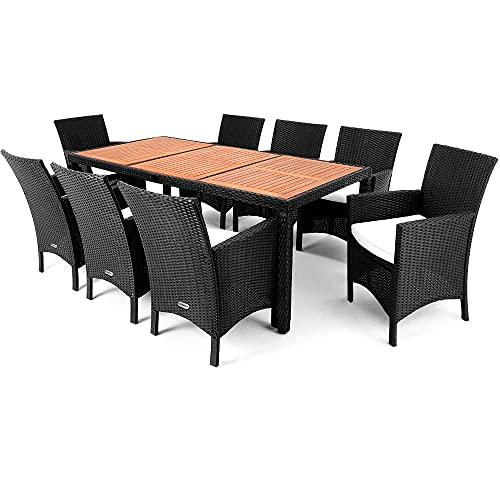 Deuba Salon de Jardin en polyrotin 17 pcs - 8 Places 1 Table avec Plateau en Bois d'acacia 8 Fauteuils 8 Coussins