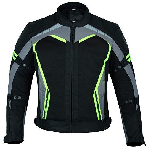 Kerozen Mens Motorcycle Jacket - Chaqueta impermeable para motorista (negro-fluorescente, M)