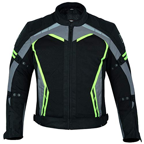 Kerozen Mens Motorcycle - Chaqueta impermeable para moto, color negro...