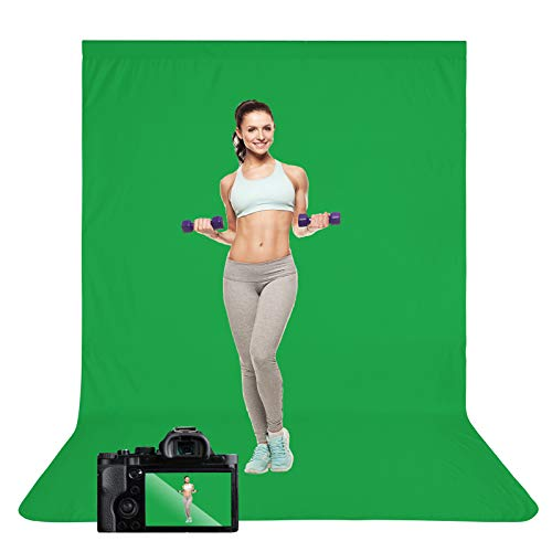 Green Screen Backdrop, 10 x 12 ft Portable Solid Color Backdrops Cloth, Chromakey Collapsible Green Backdrop Background for Photography, Zoom Meeting, Video Studio