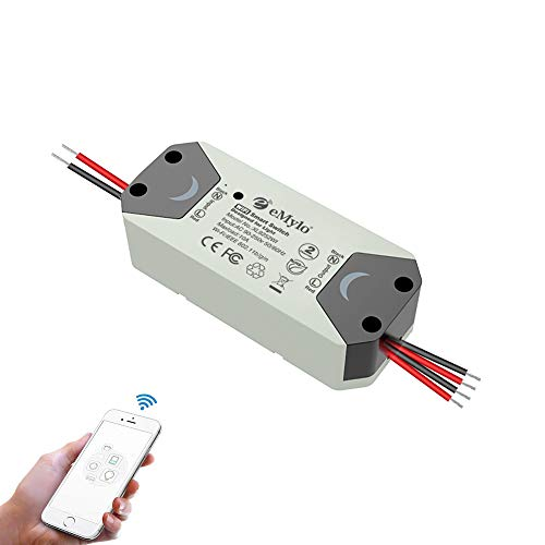 eMylo Smart WiFi Interruptor de luz Interruptor de relé inalámbrico 220V Módulo Tuya de 2 canales Control remoto Temporizadores de automatización compatibles con Alexa Echo para IOS Android 1 paquete