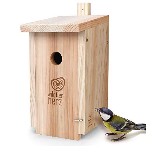 wildtier herz | Nistkasten Natur für Kohlmeisen & Co. – Massiv-Holz verschraubt, unbehandelt, wetterfest, Vogelhaus für Meisen, Nisthilfe mit 32 mm Einflugloch