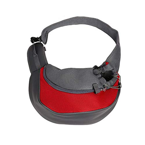WOIA Travel Pet Puppy Dog Carrier Mochila Tote Bandolera Mesh Sling Carry Pack, Rojo, S