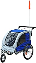Aosom Elite II 2-in-1 Pet Dog Bike Trailer and Stroller with Suspension and Storage Pockets, Blue