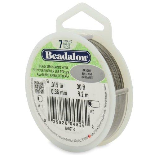 Beadalon Enfilage Fil 7 brins.015(.38mm) diamètre 30ft/Pkg-Bright