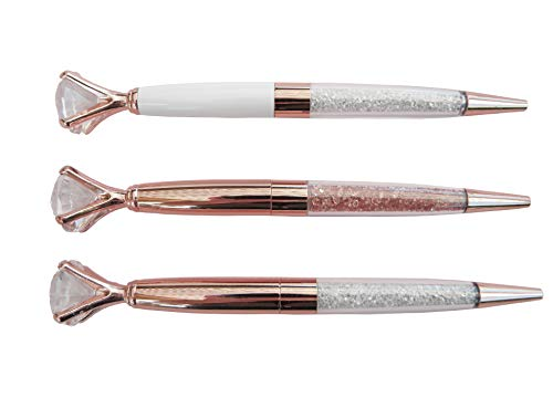 Pen Gift Set for Women - 3 Rose Gold Big Diamond Pens with Crystals in a Pink Gift Box – Rose Gold, White, Rose Gold, Fancy, Bling Top Ballpoint Writing Pens, Black Ink/Medium Point Photo #5