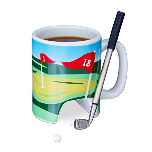 Relaxdays Golftasse mit Schläger, Putter mit Kugelschreiber, 2 Golfbälle, lustiges Golfgeschenk, Golf Kaffeetasse, bunt