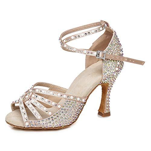 JUODVMP Zapatos Baile Latino Mujer Diamante de Imitación Zapatos Salsa Tango Mujer Model VE-YCL430-7.5,Desnudo,38.5EU