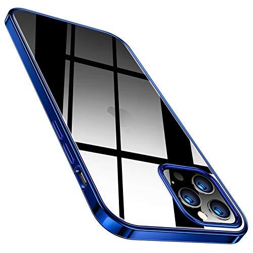 TORRAS Crystal Clear Hülle Kompatibel mit iPhone 12 Pro Max Dünn Vergilbungsfrei Durchsichtig Handyhülle Hülle Flexibles Silikon Slim Schutzhülle Blau…