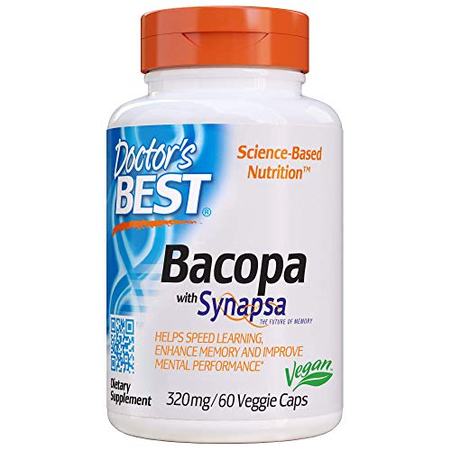 Doctor's Best Bacopa with Synapsa, Non-GMO, Vegan, Gluten Free, Soy Free, Helps Enhance Memory, 320 mg, 60 Veggie Caps