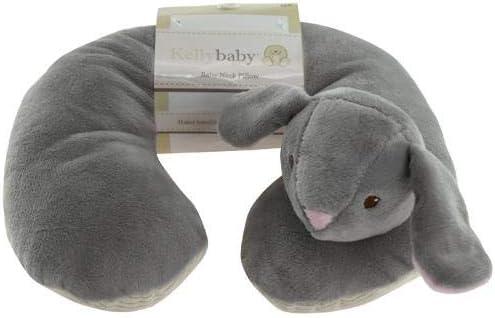 Kelly Baby Gray Bunny Baby Neck Pillow w/Cream Corduroy Trim & Band 10
