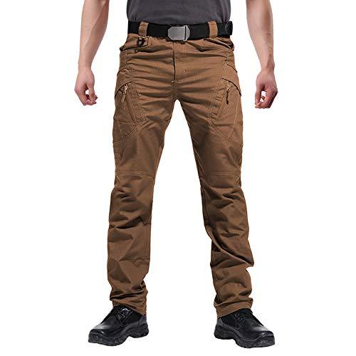 FEDTOSING Cargohose Herren Vintage Militär Tactical Hosen mit Stretch Arbeitshose Outdoor Viele Taschen Leichte Baumwolle(EUBraun M, 32W30L