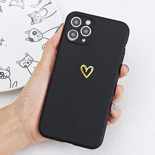 EWUEJNK Funda de teléfono móvil para iPhone 11 Pro 12 Mini Xr X Xs Max 8 7 6S Plus 5S Se 2020, Daisy Flower Soft Tpu Silicona a prueba de golpes, corazón dorado, para iPhone 5 5S