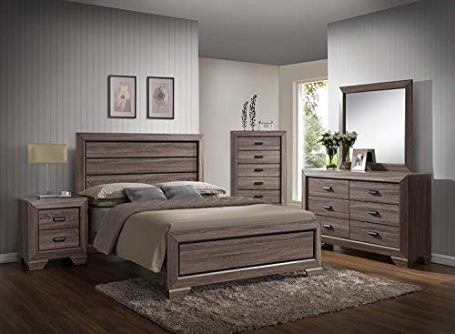 Find Bargain GTU Furniture Lyndon 4Pc Weathered Grey Panel Bedroom Set (Queen Bed, Nightstand, Dres...
