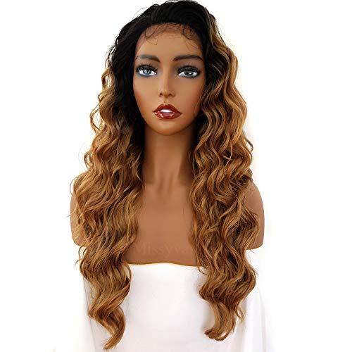 Missyvan Ombre - Parrucca sintetica con pizzo frontale ondulato profondo, senza colla, bicolore, con radici scure, 50 cm, fibre termoresistenti