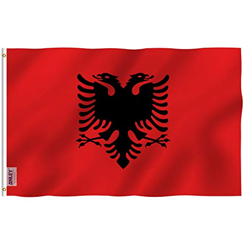 Anley Fly Breeze 3x5 Foot Albania Flag - Vivid Color and Fade Proof - Canvas Header and Double Stitched - Albanian National Flags Polyester with Brass Grommets 3 X 5 Ft