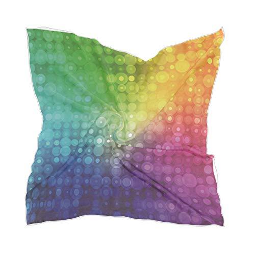 XiangHeFu Schiere hoofddoek hoofddoek chiffon abstracte regenboog kleurrijke doppen meisjes zijden sjaal hoofddeksel