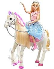 Barbie GML79 - Barbie Princess Adventure-docka och Prance & Shimmer-häst med ljus och ljud