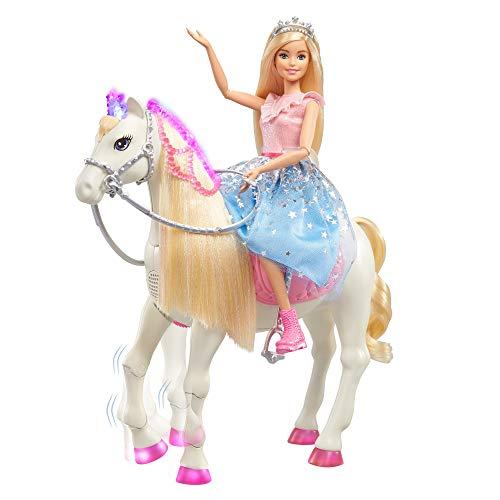 Barbie - Princess Adventures Prance y Shimmer Caballo y muñeca Rubia, Regalo...