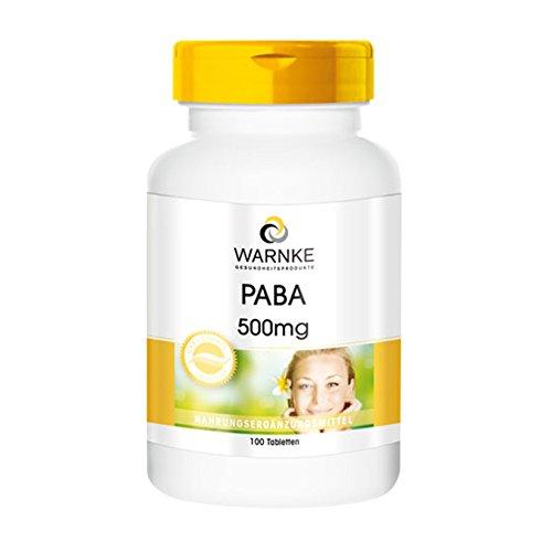 PABA 500mg – Ácido paraaminobenzoico (Vitamina B10) – Vegana – 100 comprimidos