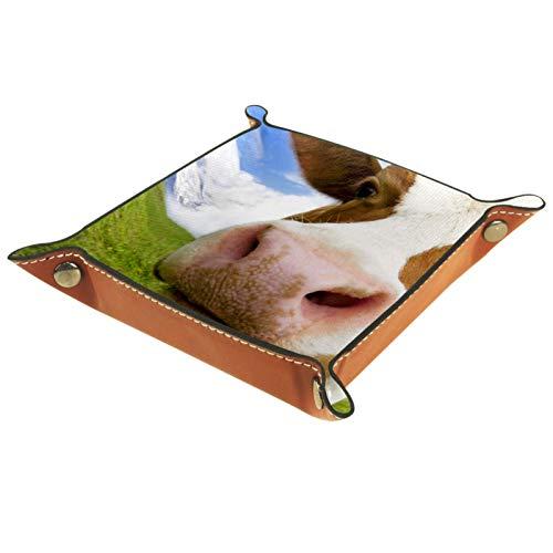Bandeja de Cuero Cielo del prado de la vaca Almacenamiento Bandeja Organizador Bandeja de Almacenamiento Multifunción de Piel para Relojes,Llaves,Teléfono,Monedas