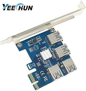 YEECHUN New VER.002 4 in 1 PCI-E Riser Adapter Board 1 to 4 PCI-E 1X Express USB3.0 PCI-E Rabbet Ethereum Mining ETH (4 in 1)
