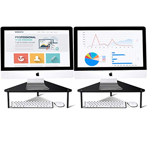2 Pieces AcrylicComputer Monitor Riser Triangle Computer Stand Save Space Desktop Corner Stand for Computer Monitor and Laptop (Black)