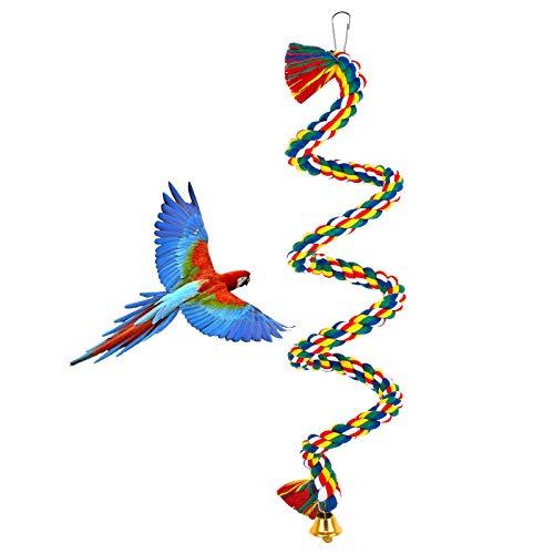Ledoo Papagei Kletterseil Vogel Baumwolle Schaukel Papagei Spielzeug Vogel Barsch Seil Bungee Seil mit Glocke für Vögel Wellensittiche Sittiche