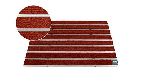 EMCO Eingangsmatte DIPLOMAT Large Rips rot 22mm Fußmatte Schmutzfangmatte Fußabtreter Antirutschmatte, Größe:590 x 390 mm