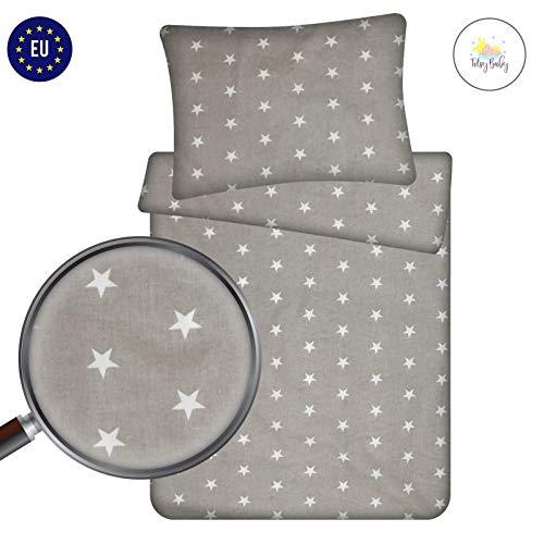 Kinderbettwäsche 100 x 135 Bettwäsche baby Set - babybettwäsche 135x100 kuschelig 2 teilig mit Kissenbezug 40x60 cm 100% Baumwolle grau weiß