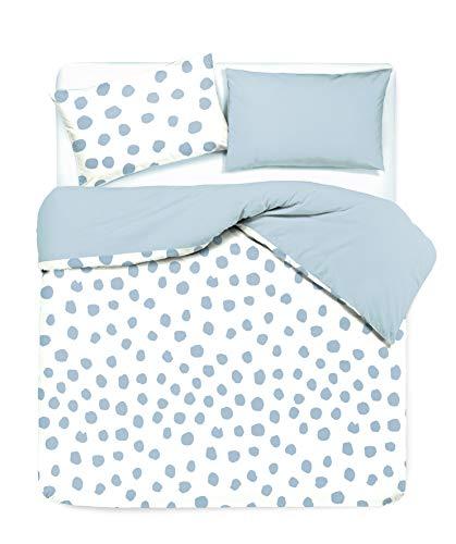 Novilunio - Juego de funda nórdica con fundas de almohada reversibles, estampado digital, 100 % algodón, fabricado en Italia, plaza y media, Dot Maxi Celeste