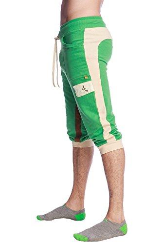 """4-rth """"Edge Cuffed Yoga Pant (S, Green w/Sand Beige & Chocolate)"""