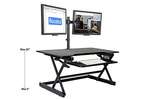 "Rocelco 40"" Height Adjustable Standing Desk Converter Bundle with Dual Monitor Mount/Sit Stand Computer Workstation/Gas Spring Riser Retractable Keyboard Tray/Black (R DADRB-40-DM2)"