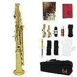 PFMY.DG Saxofón Soprano Bemol Recta Saxofón Blanca Shell Botón De Latón De Oro De Pintura con Guantes Cepillo De Limpieza Otro Accesorio,Oro