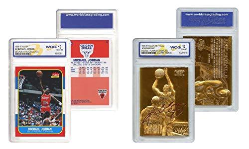 "Merrick Mint Michael Jordan & Kobe Bryant SIGNATURED GEM-MT 10""23KT Gold Rookie Card LOT! image"