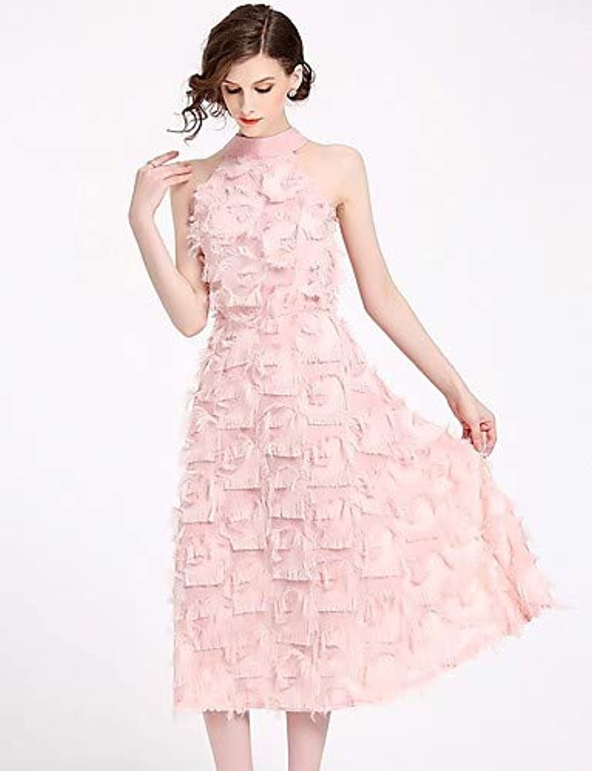 Women's Beach Slim A Line Dress  Solid colord Floral   Geometric Lace Pleated   Tassel Stand