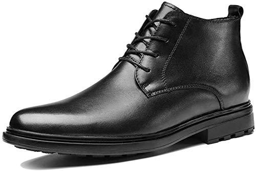 LXF JIAJU Zapatos de Hombre Botines for Hombres Redondo del Cordón del Dedo del Pie hasta Los Zapatos De Cuero Genuino Sólido De Visita De Color Plano Ocasional Antideslizante Oxford Business