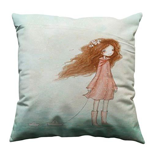 Mamum Housse de Coussin, Minimaliste Belle Filles taie d'oreiller Coton Doux canapé Throw Housse de Coussin décor à la Maison (D)