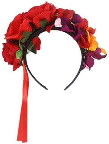 Auoeer Día de la Diadema Muerta Disfraz Rose Flor Crown Hoop Hoop Floral Hacer para Halloween Cosplay Disfraz Props (Rojo) (Color : Red)
