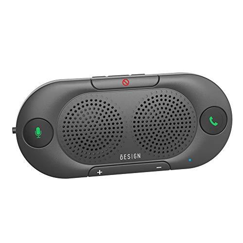 Besign BK06 Kit Vivavoce Bluetooth per Auto, per Chiamate Viva voce, GPS e Musica, Supporto per aletta Parasole, Auto Accensione, con altoparlante potente da 2 X 2W, Connettività Dual Link
