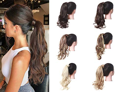 Uleeso Body Wave Long Ponytail Extension Synthetic Hair Hairpiece Wrap Around Clip in Pony Tail Wig for Women (2/30)