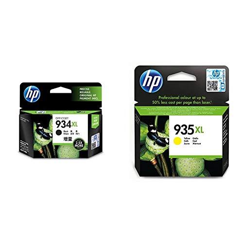 HP C2P23AE 934XL Cartucho de Tinta Original de Alto Rendimiento, 1 Unidad, Negro + 935XL C2P26AE, Amarillo, Cartucho de Tinta de Alta Capacidad Original