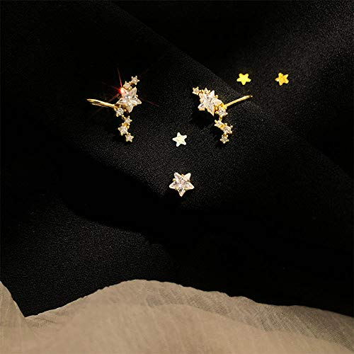 3-sterren AB-oorclip oorstekers, ster-oorclip, oorbellen met gaatjes, eenvoudige Franse oorbellen