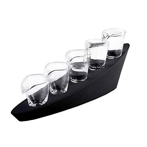 Monsterzeug 5er Set Domino Schnapsgläser, Shot-Gläser mit LED Beleuchtung und Treppenständer, Leuchtende Gläser als witziges Party Accessoire
